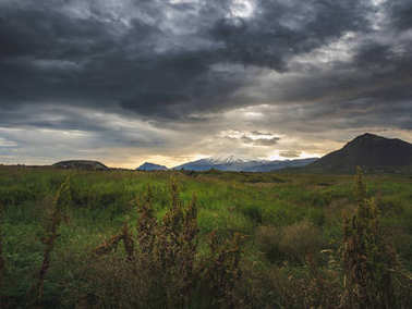 northern landscape with green meadow and mountain, Iceland