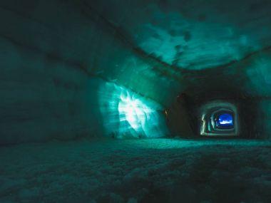 Tunnel inside ice cave in the Langjokull glacier in Iceland stock vector