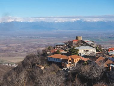 Aerial view of buildings and beautiful mountains in Signagi, Georgia stock vector