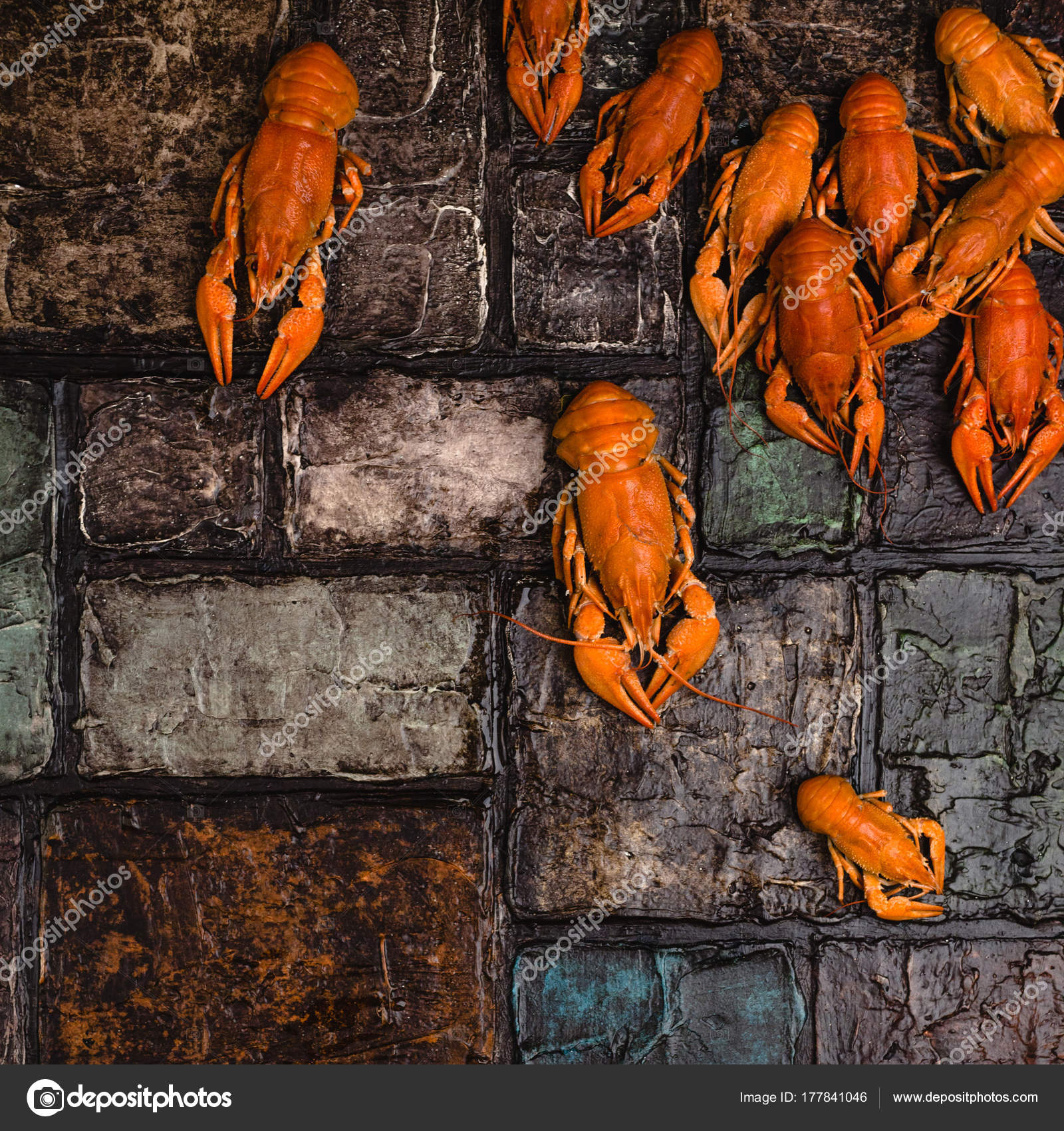 Top View Gourmet Lobsters Brick Wall Surface Stock Photo