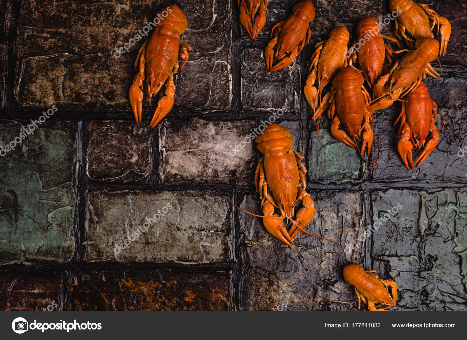 Top View Delicious Lobsters Brick Wall Surface Stock Photo