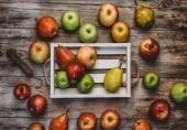 pohled shora z ruky váhy, jablka a hrušky v poli na dřevěný stůl