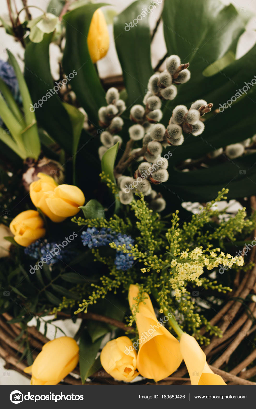 Beautiful spring bouquet tender blue yellow flowers elegant floral beautiful spring bouquet tender blue yellow flowers elegant floral decoration stock photo izmirmasajfo
