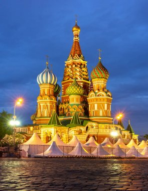 Cathedral of Vasily the Blessed (Saint Basil's Cathedral) on Red Square at night, Moscow, Russia