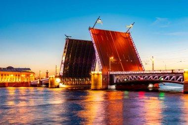 Open Palace Bridge at white night, Saint Petersburg, Russia
