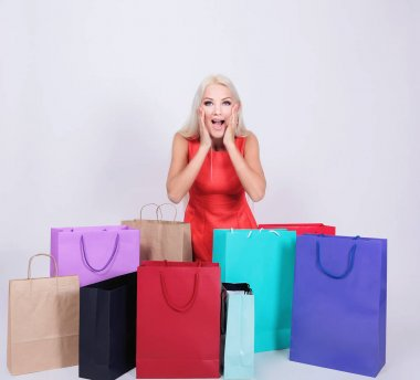 Girl or woman in shock about shopping