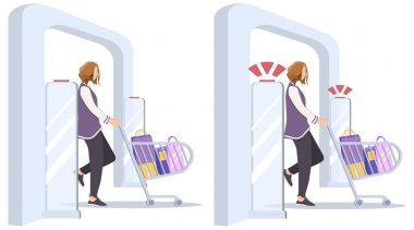 Woman goes through anti-theft sensor gates. System reports theft. Security system detect barcode and notify. Vector, illustration. No signal from gates - no stolen items.