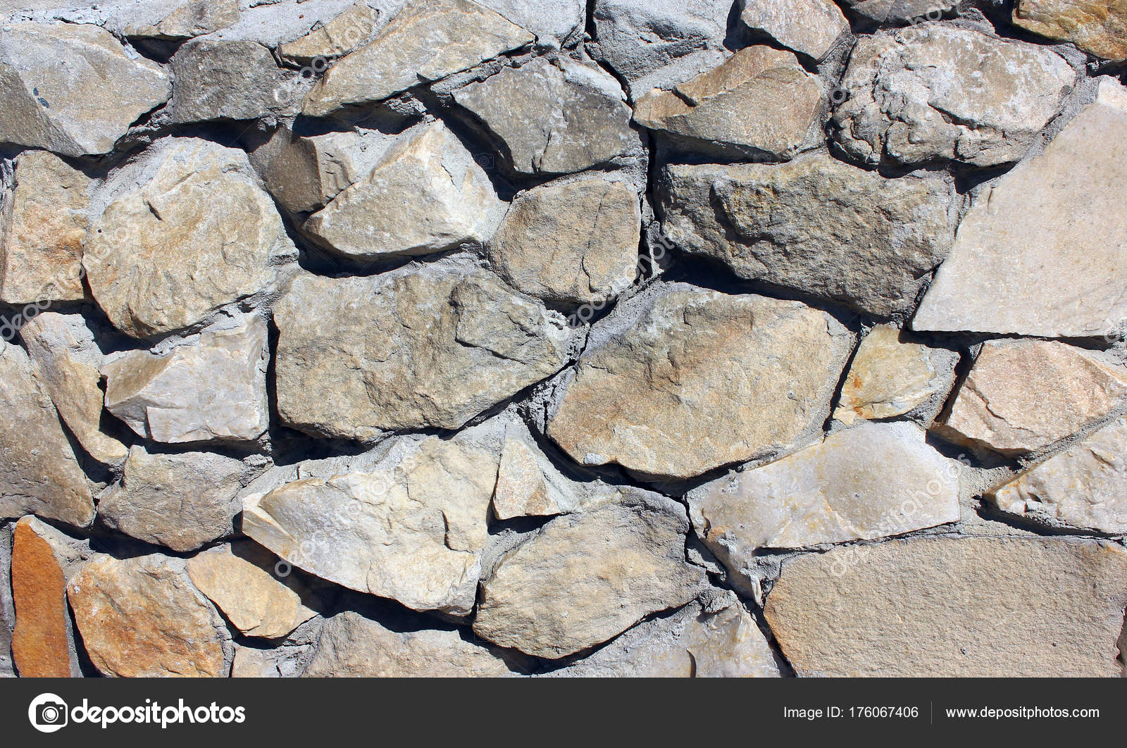 Stone Brick Tile Wall Aged Texture Detailed Pattern Background In Light Yellow Cream Brown Color Tone Ancient Rustic Limestone Patterned For Decoration