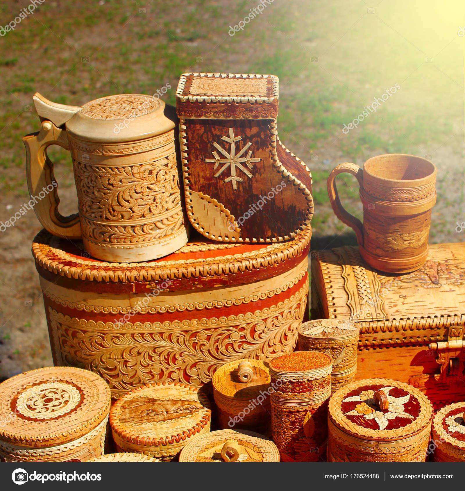 Ručně Dělané Výrobky Vyrobené Březové Kůry Ekologické Nádobí ... f7aa432520