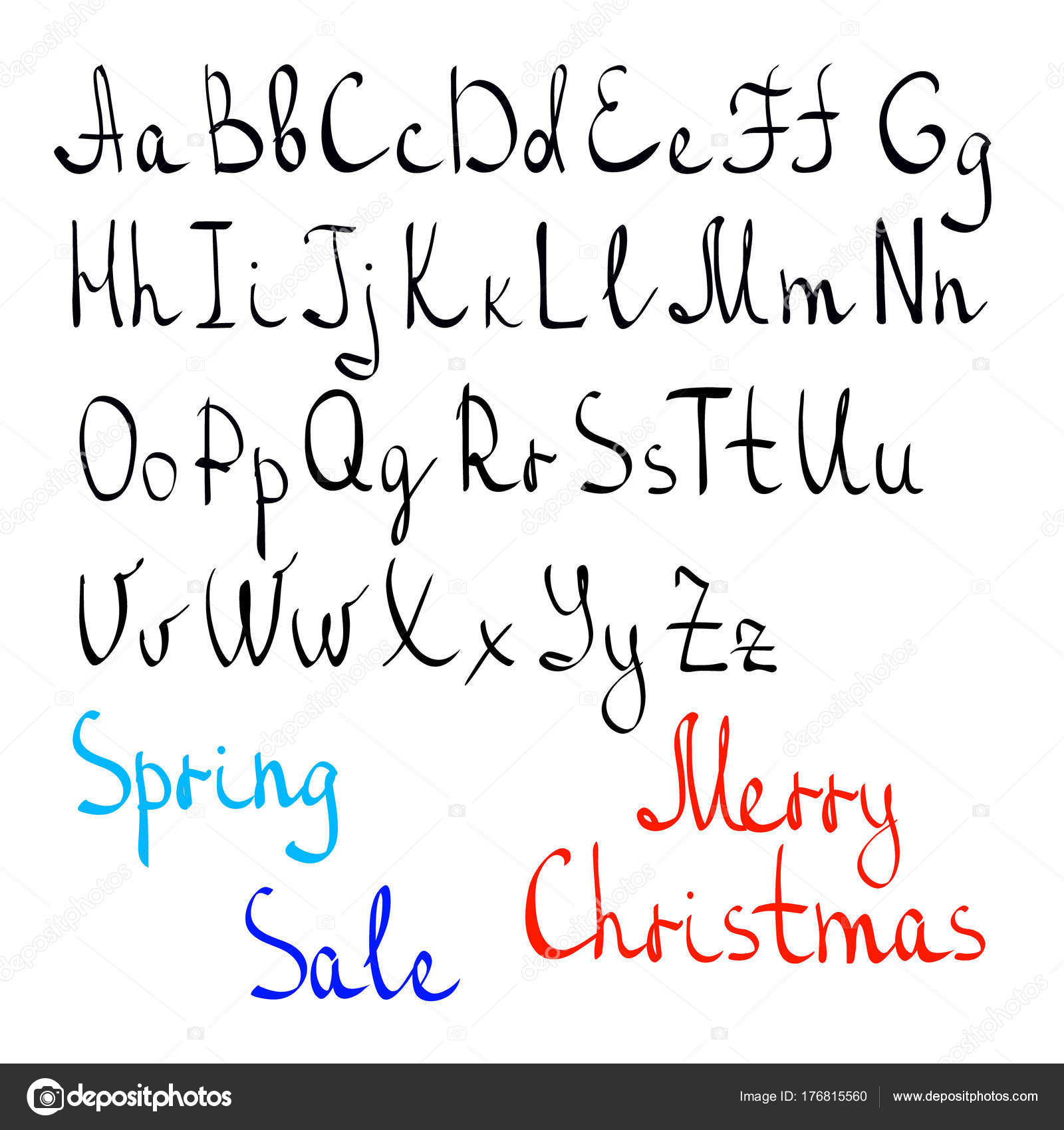 Written alphabet hand english letters casually written letters words written alphabet by hand english letters casually written letters words spring sale merry christmas made up of letters as an example vector eps 10 spiritdancerdesigns Images