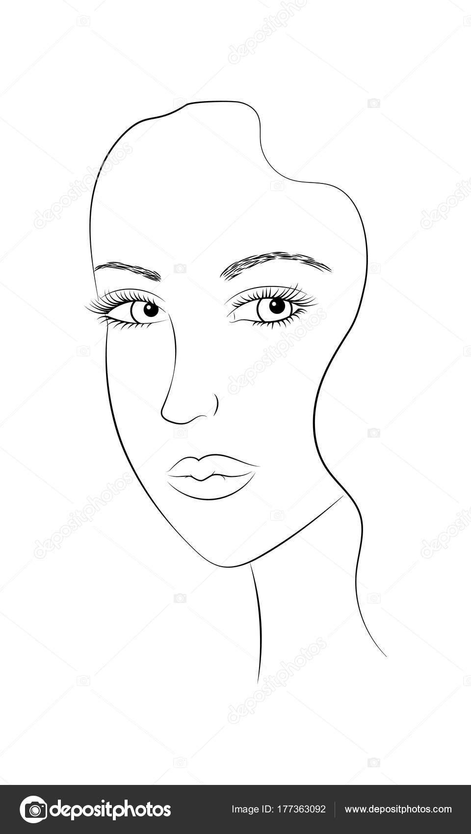 Blanco Negro Retrato Primer Plano Una Hermosa Joven Cara Una ...