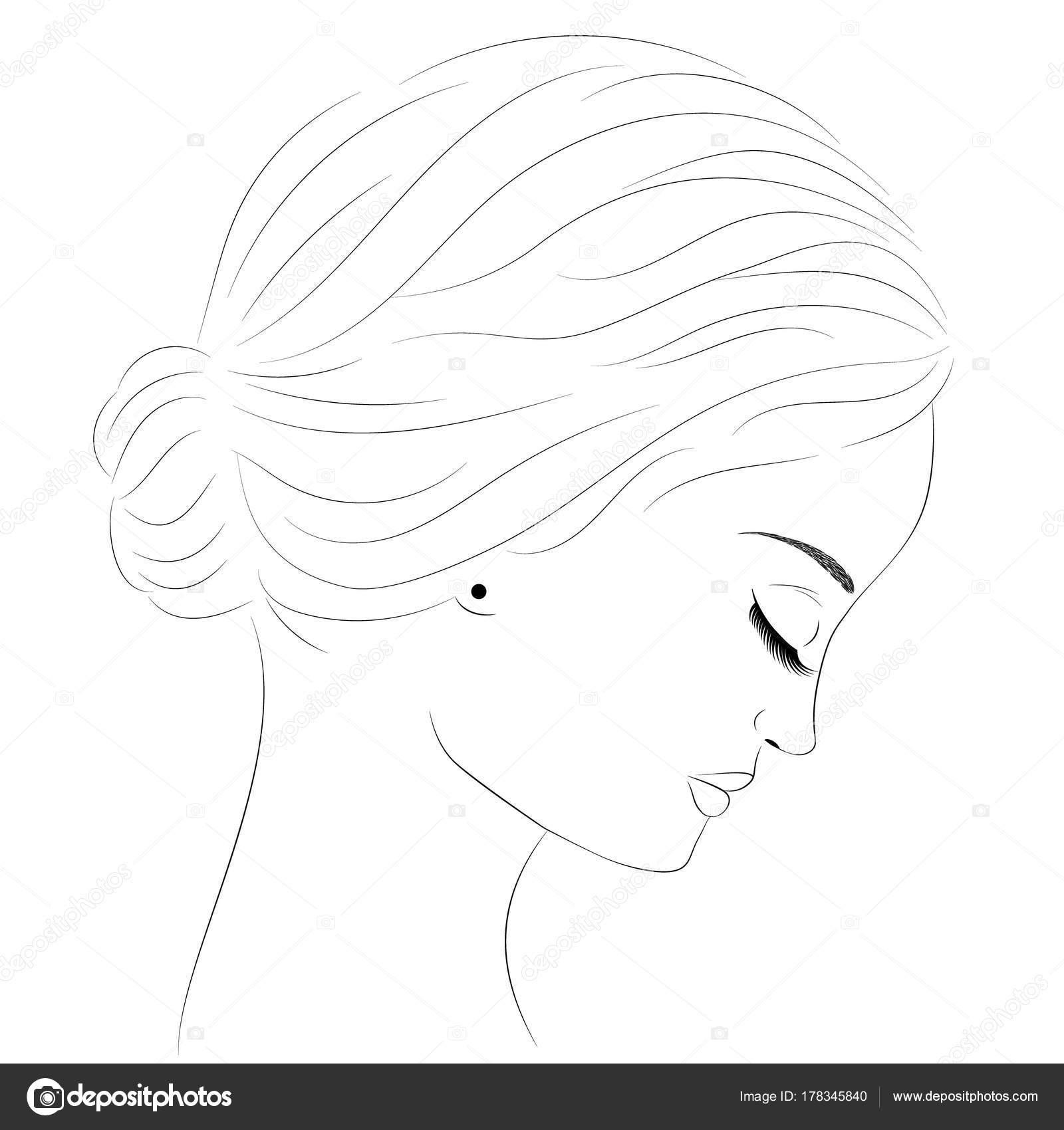 Side profile sketch sketch portrait girl profile portrait