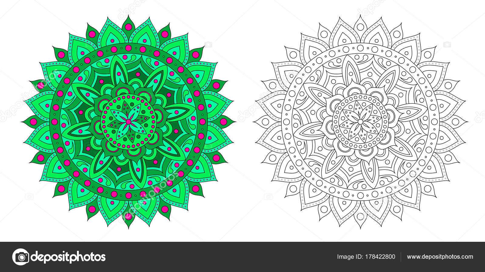 Coloriage Anti Stress Indien.Mandala Vert Rose Motif Contour Mandala Coloriage Stress