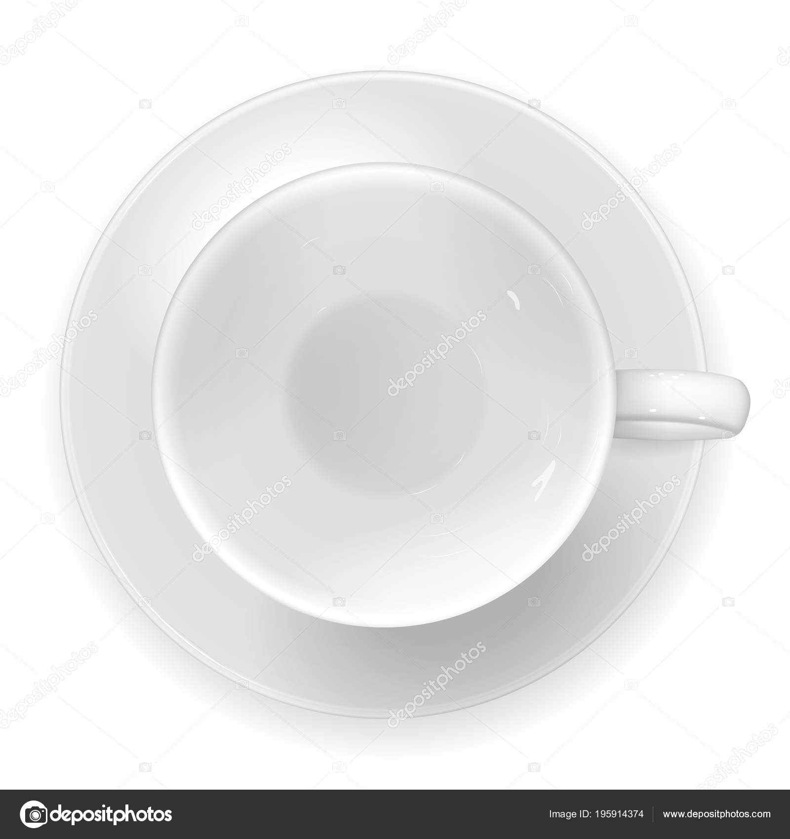 Vector Realistic Image White Porcelain Cup Saucer Top View Empty Vector Image By C Natalia5988 Vector Stock 195914374