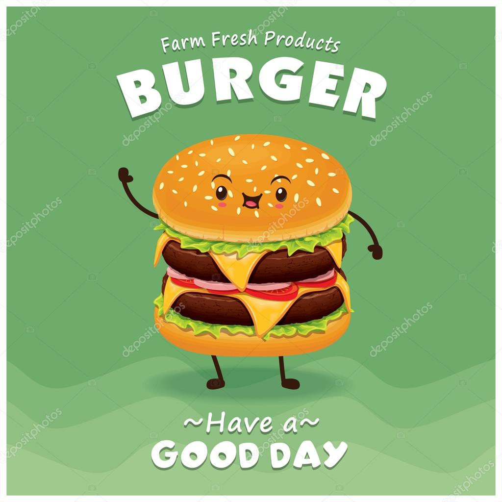 Poster design vector download - Vintage Burger Poster Design Set With Vector Burger Character Stock Vector 125864852