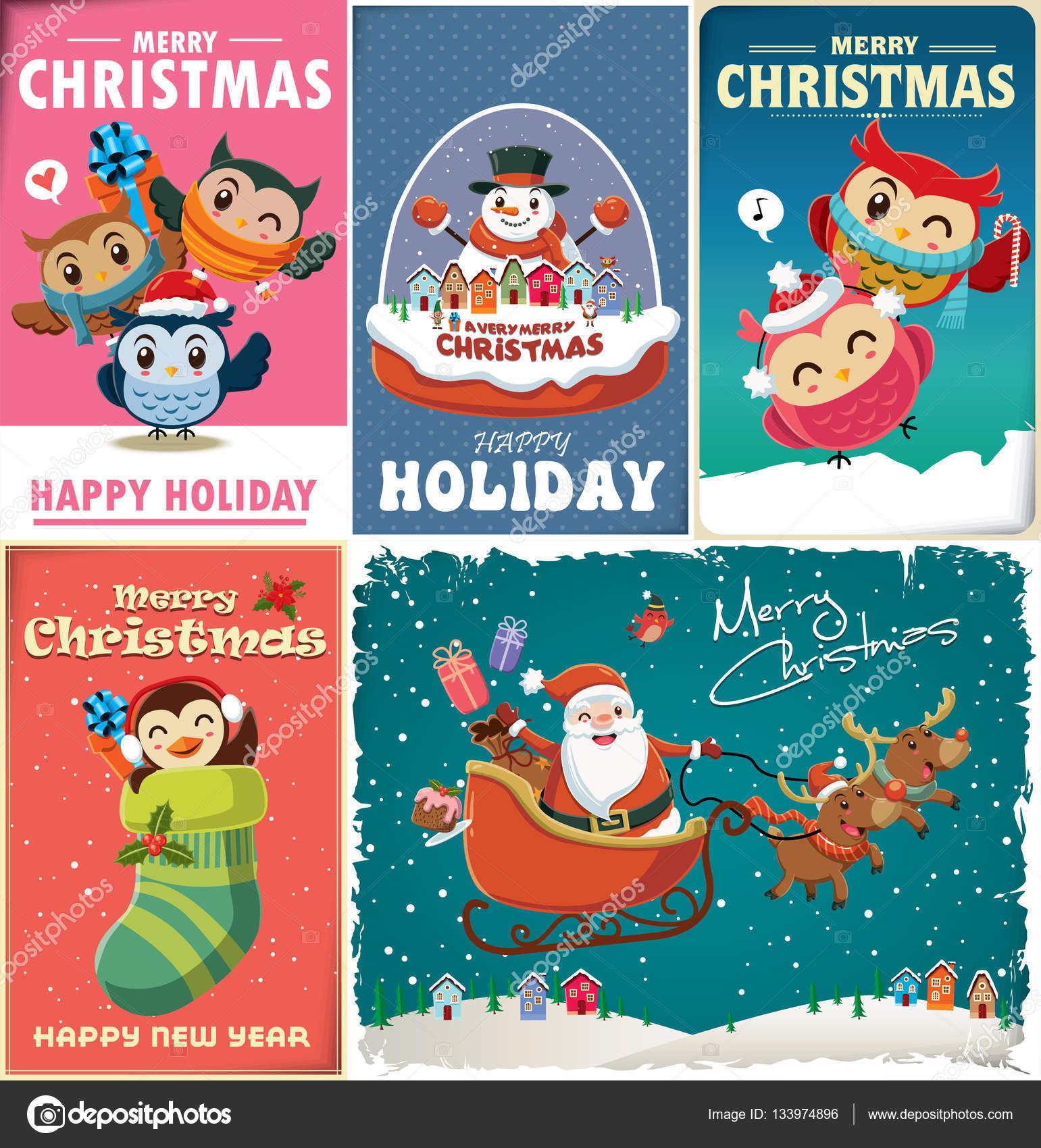Vintage Weihnachten Plakat zu entwerfen, mit Vogel, Katze, Haus ...