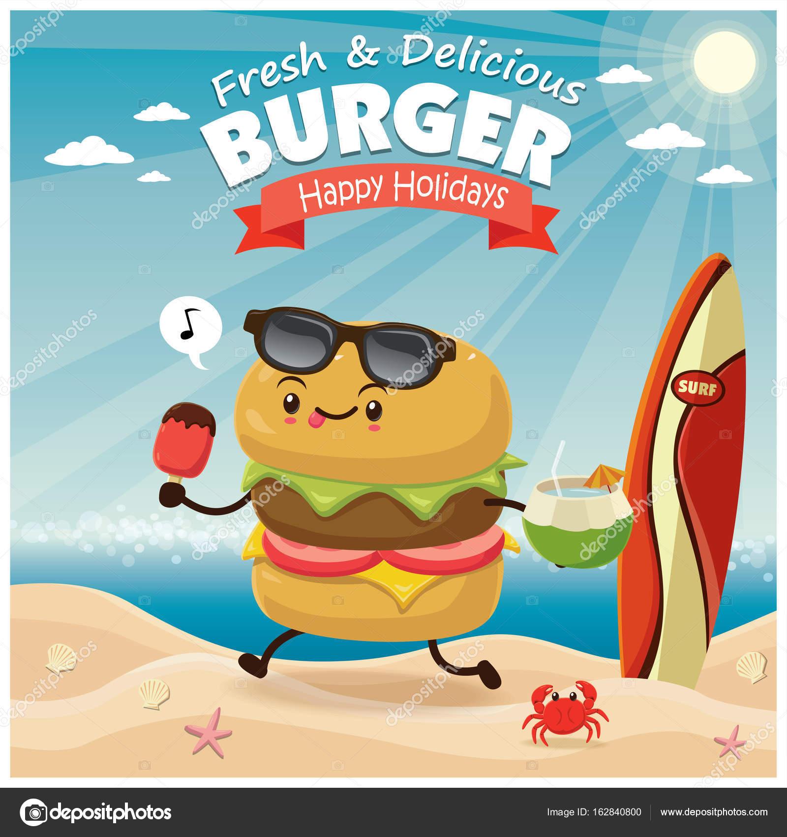 ハンバーガー文字でビンテージ バーガー ポスター ビーチ デザイン