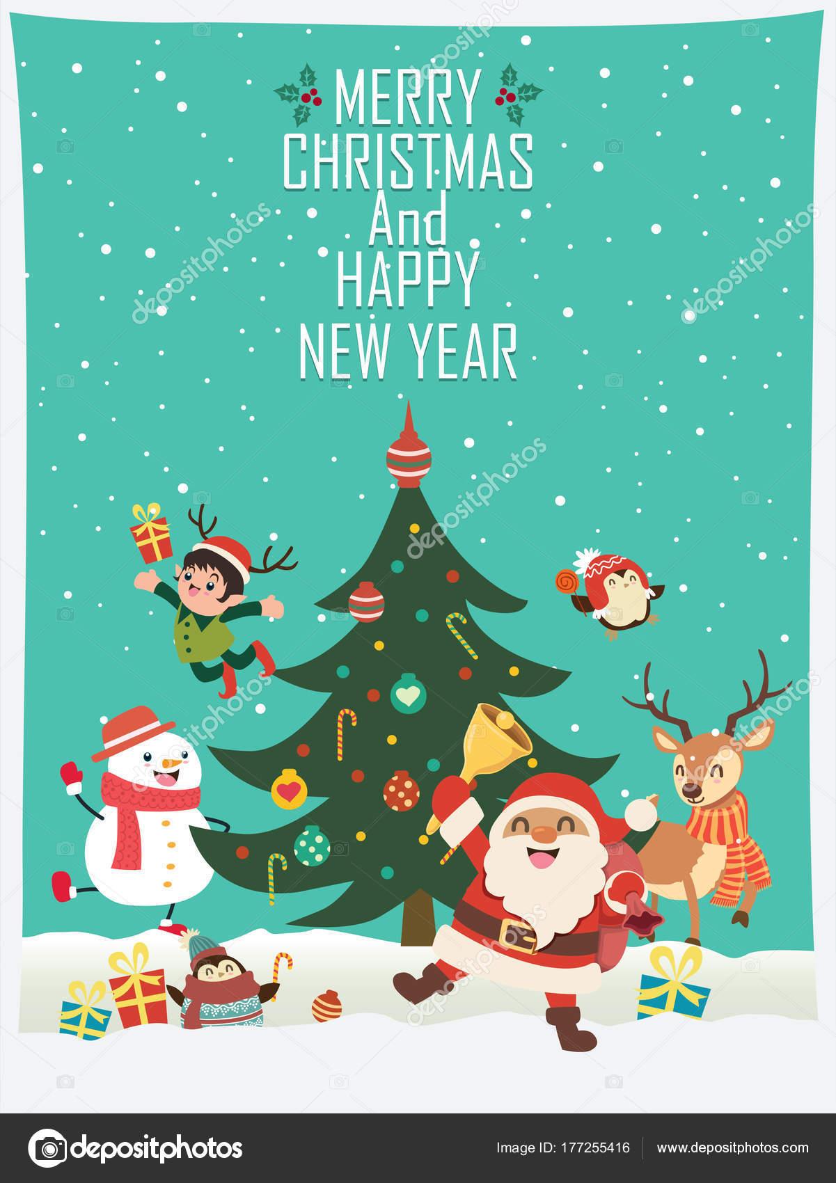 Vintage Weihnachten Plakat Entwerfen Mit Dem Vector Weihnachtsmann ...