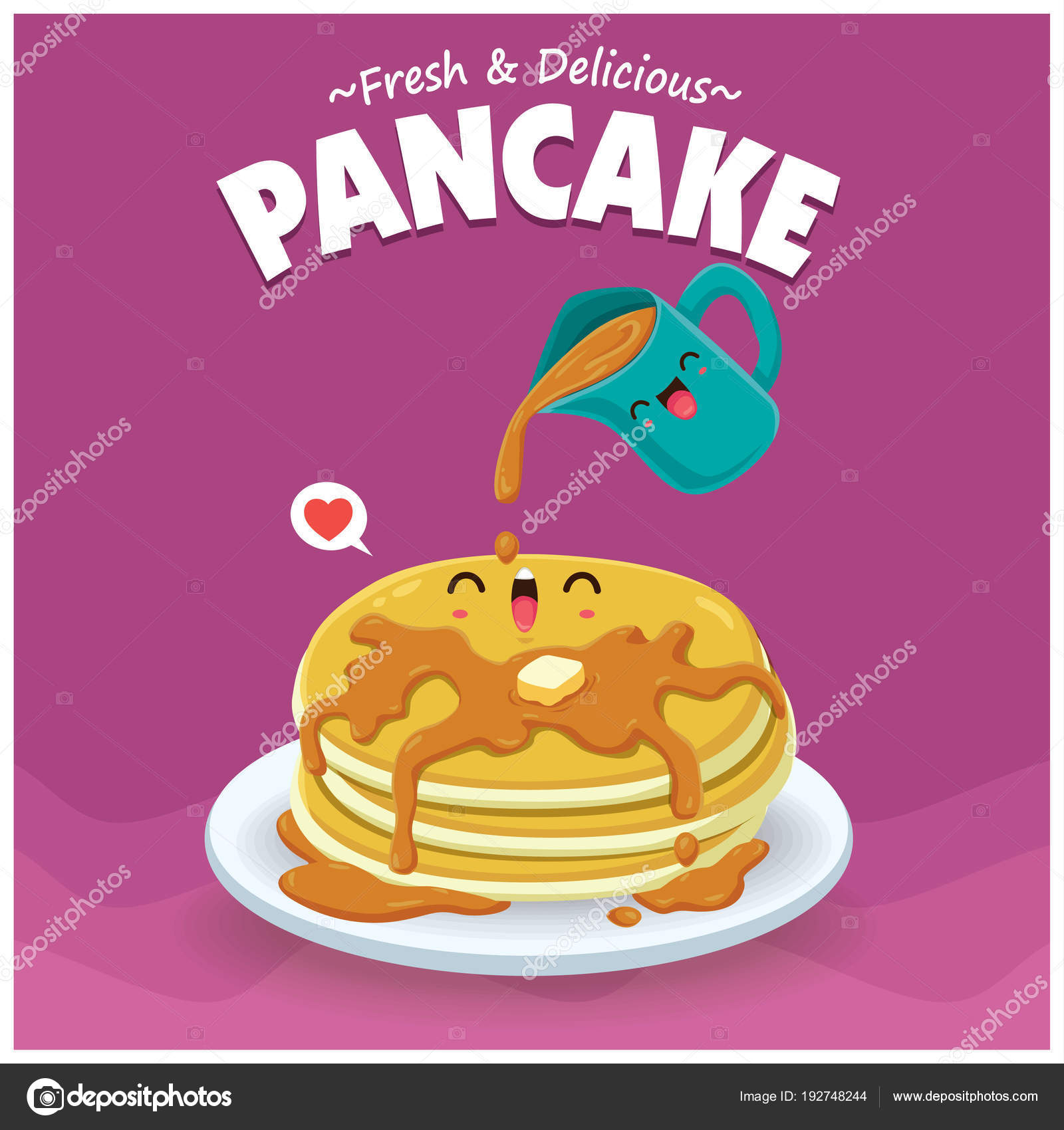 Vintage Food Poster Design Vector Pancake Characters Stock