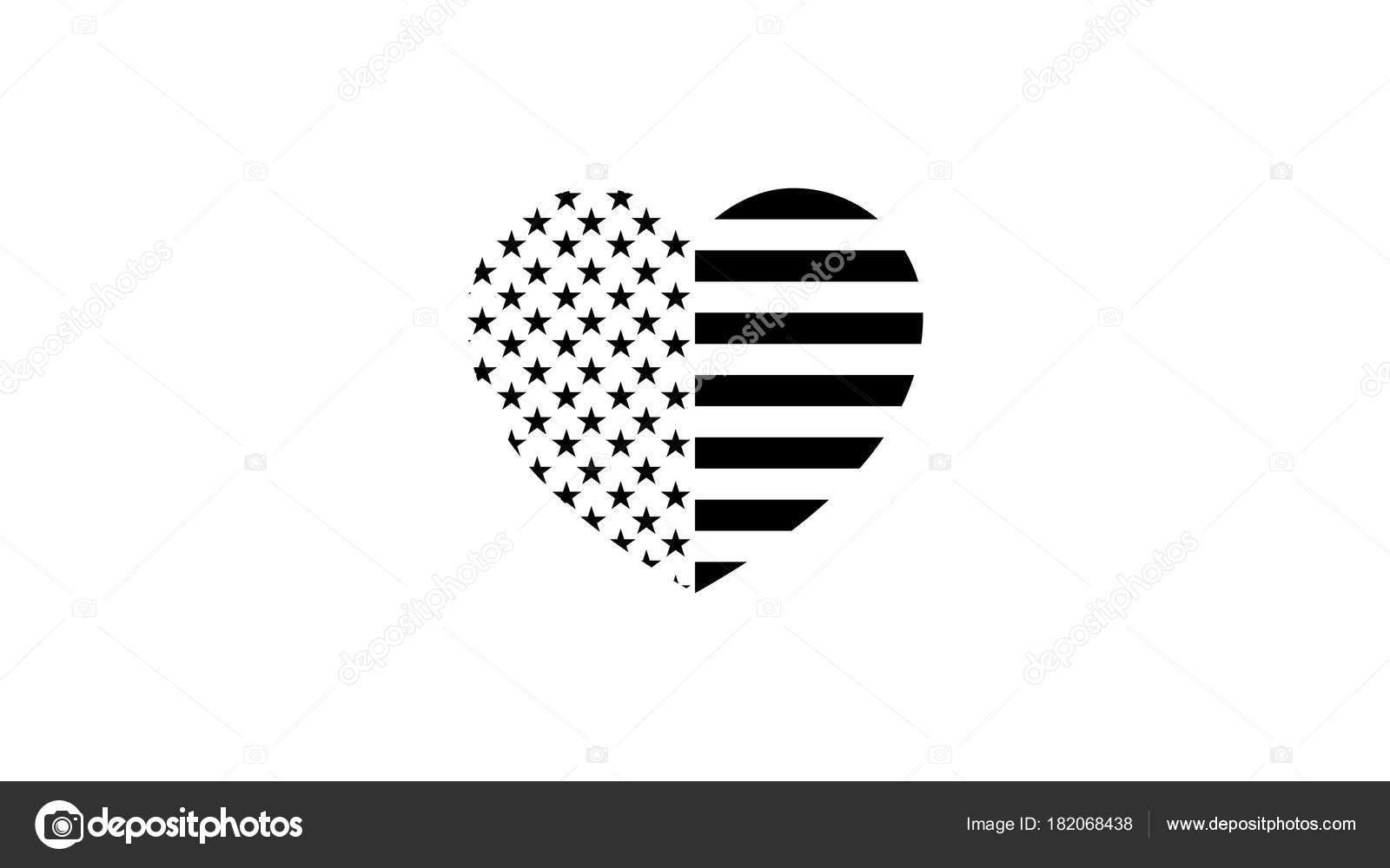 stylische, schwarze und weiße Flagge der Vereinigten Staaten in Form ...