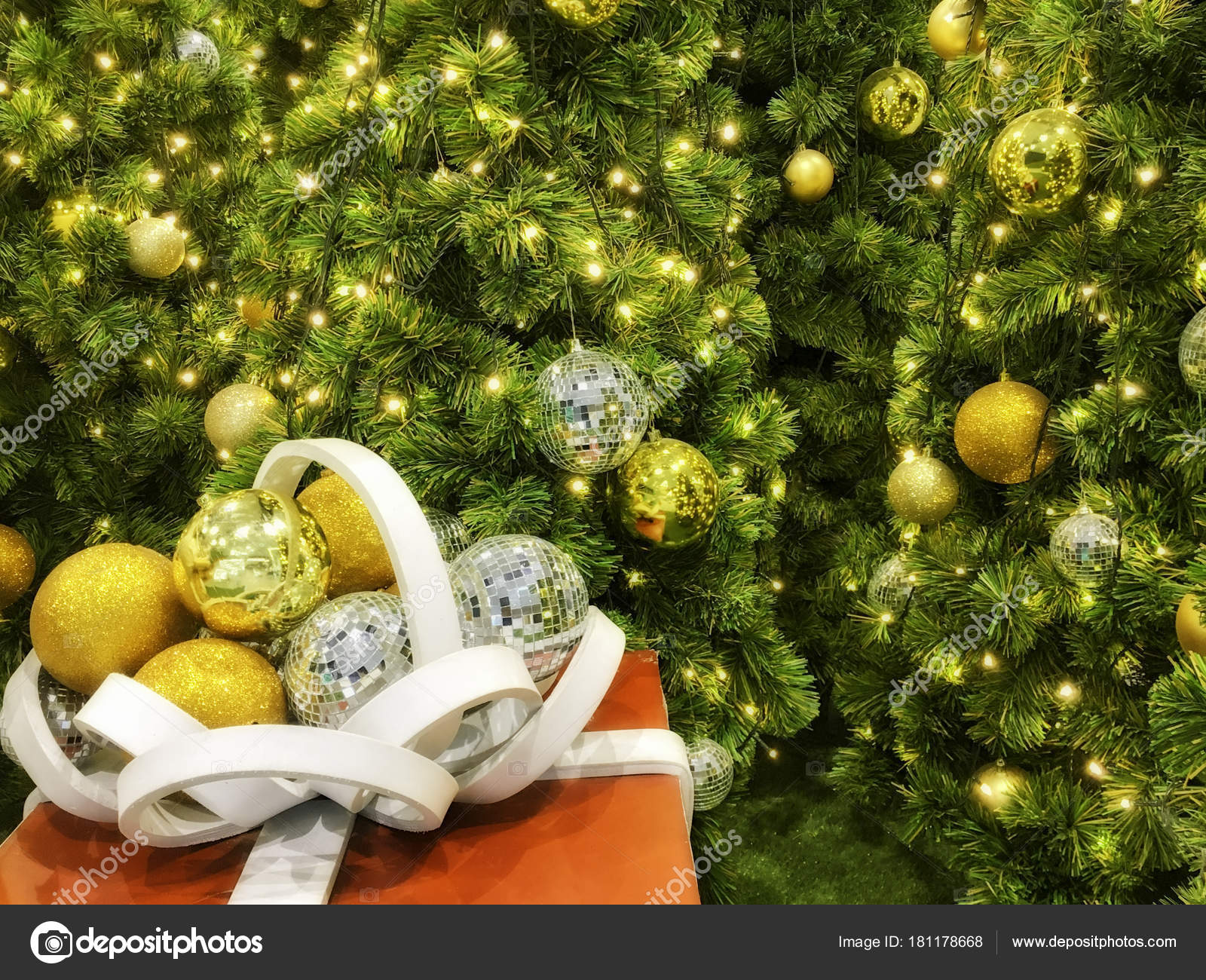 Red Gift Box With White Ribbon And Christmas Tree Stock Photo Image By C Vorakorn 181178668