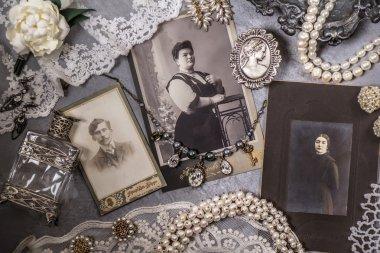 Closeup of a pile of vintage photos
