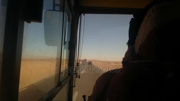 View driving desert bus.