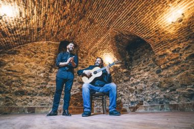 Flamenco singer and guitarist in concert