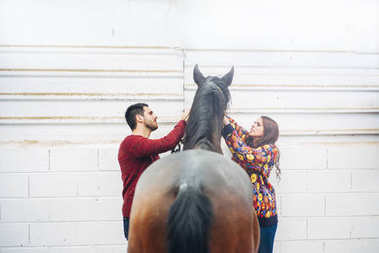 Wedding couple with a horse