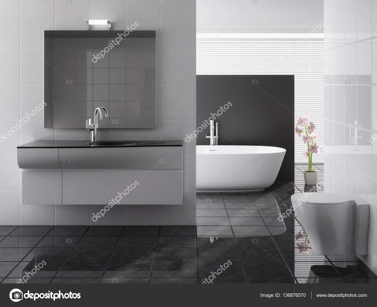 Bagno moderno completo di vasca e lavandino u foto stock
