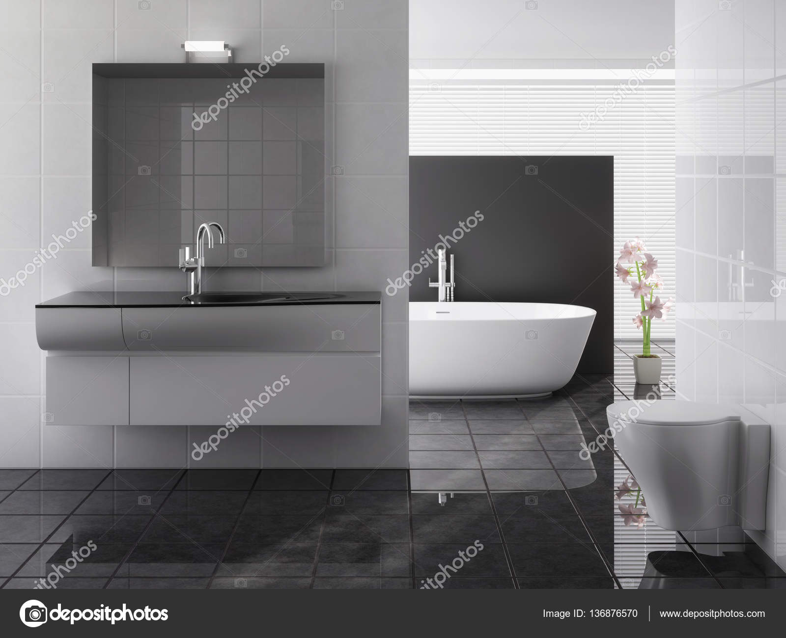 moderne badkamer met ligbad en wastafel — Stockfoto © Toncsi47 ...