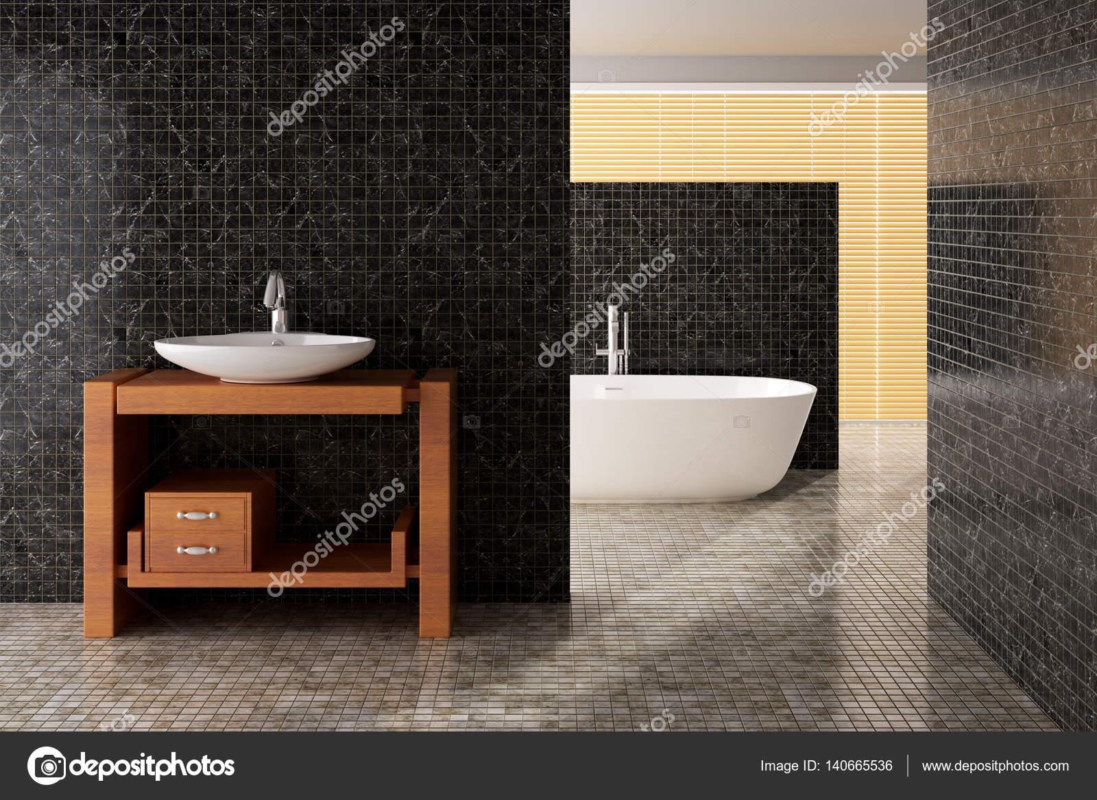 Moderne badkamer met ligbad en wastafel u stockfoto toncsi