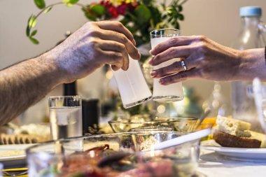 Frends drinking Turkish Traditional Drink Raki, Ouzo