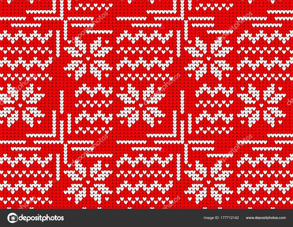 suéter de punto jersey invierno rojo, noruego estilo del patrón con ...