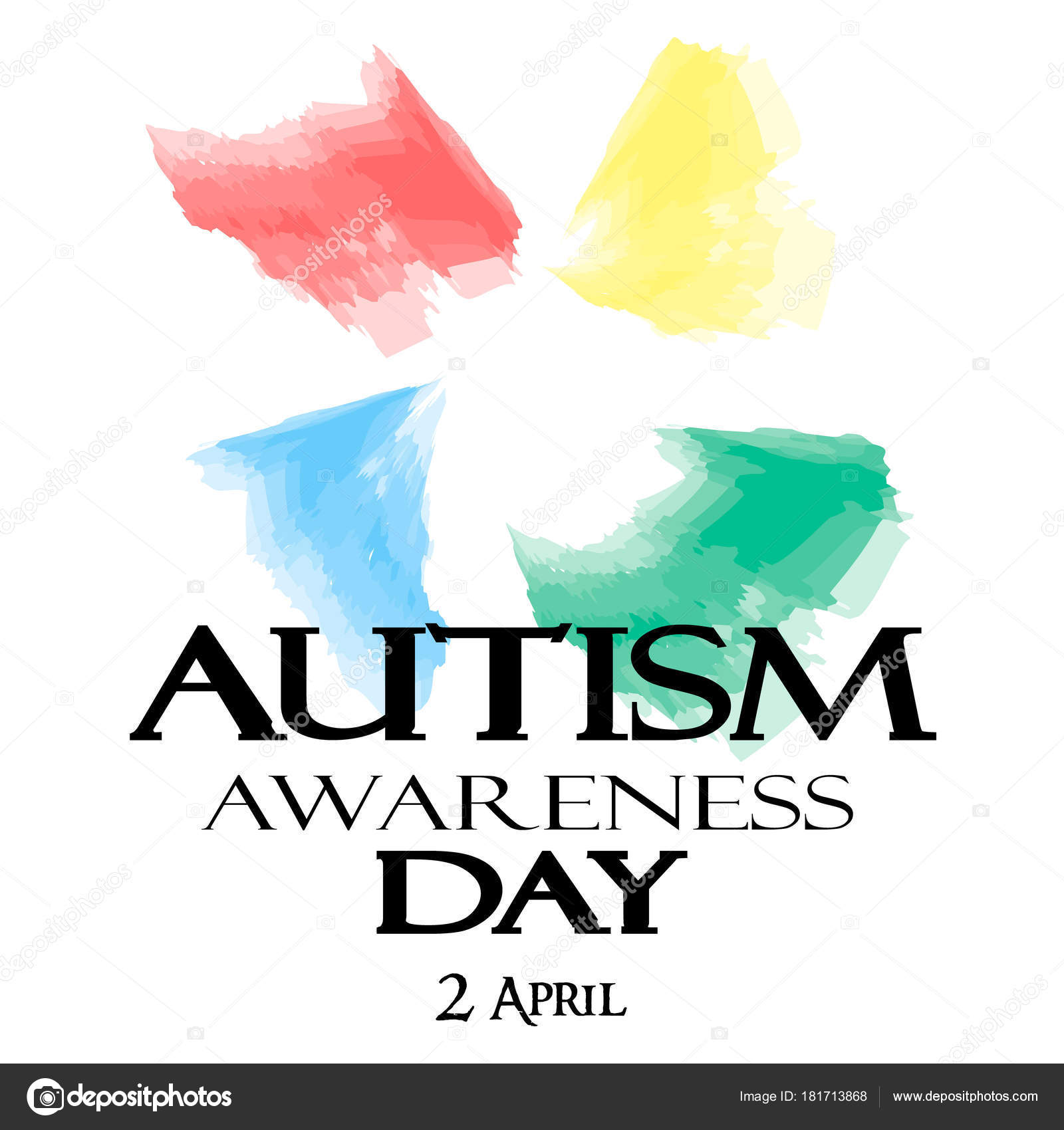 Autism Awareness Month Watercolor Symbol Of Autism Stock Vector