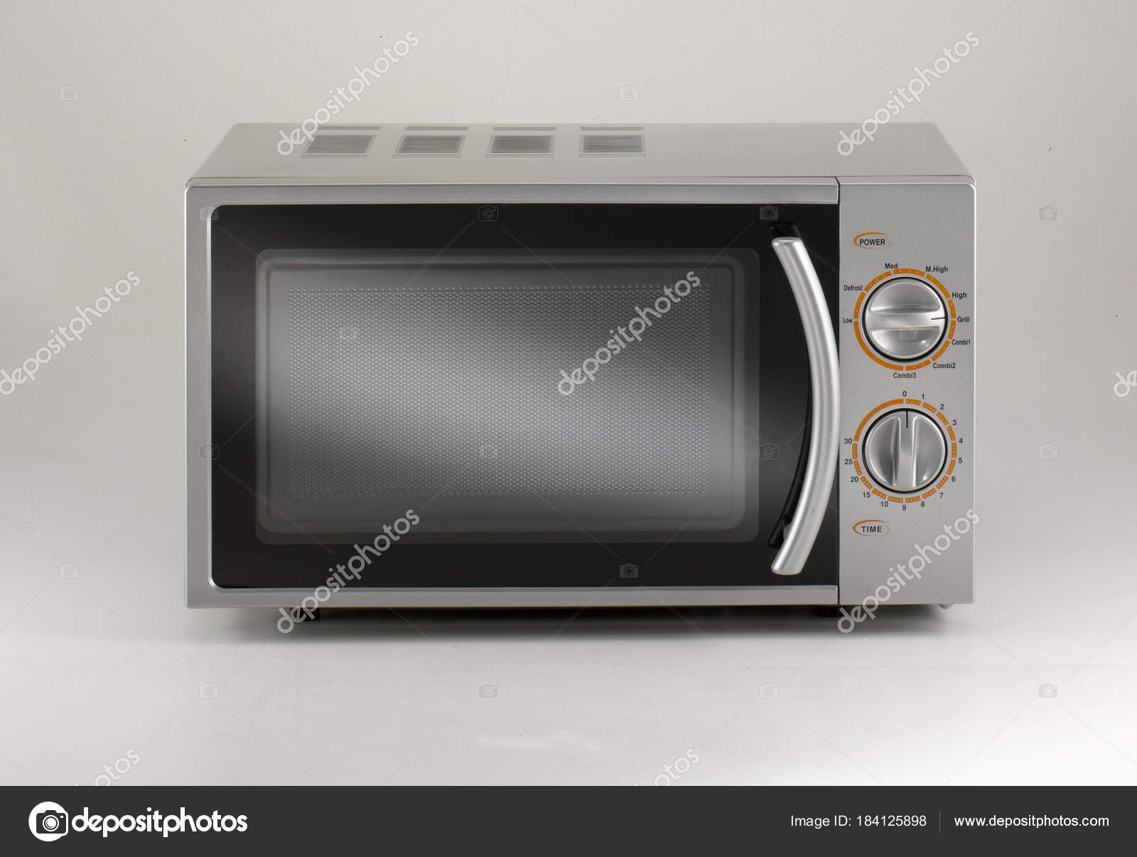 Brand Microwave Oven Silver Light Grey Background — Stock Photo