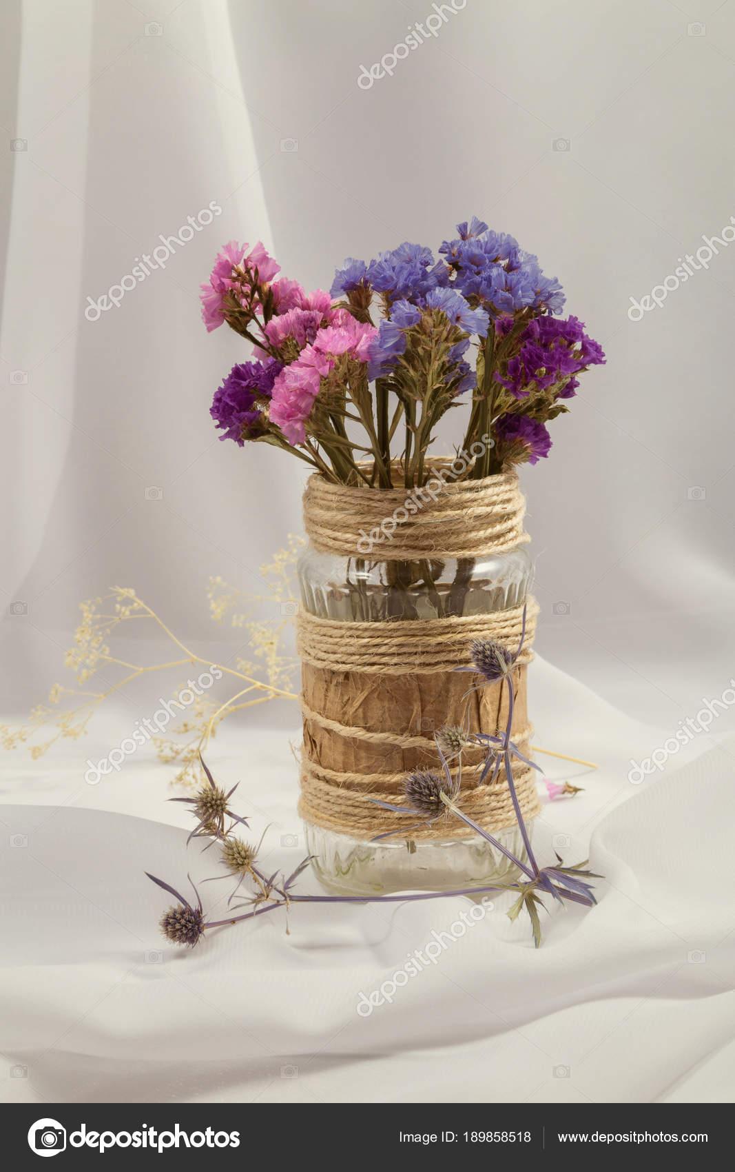 Ramo Flores Secas Color Rosa Azules Purpuras Frasco Vidrio Decorado