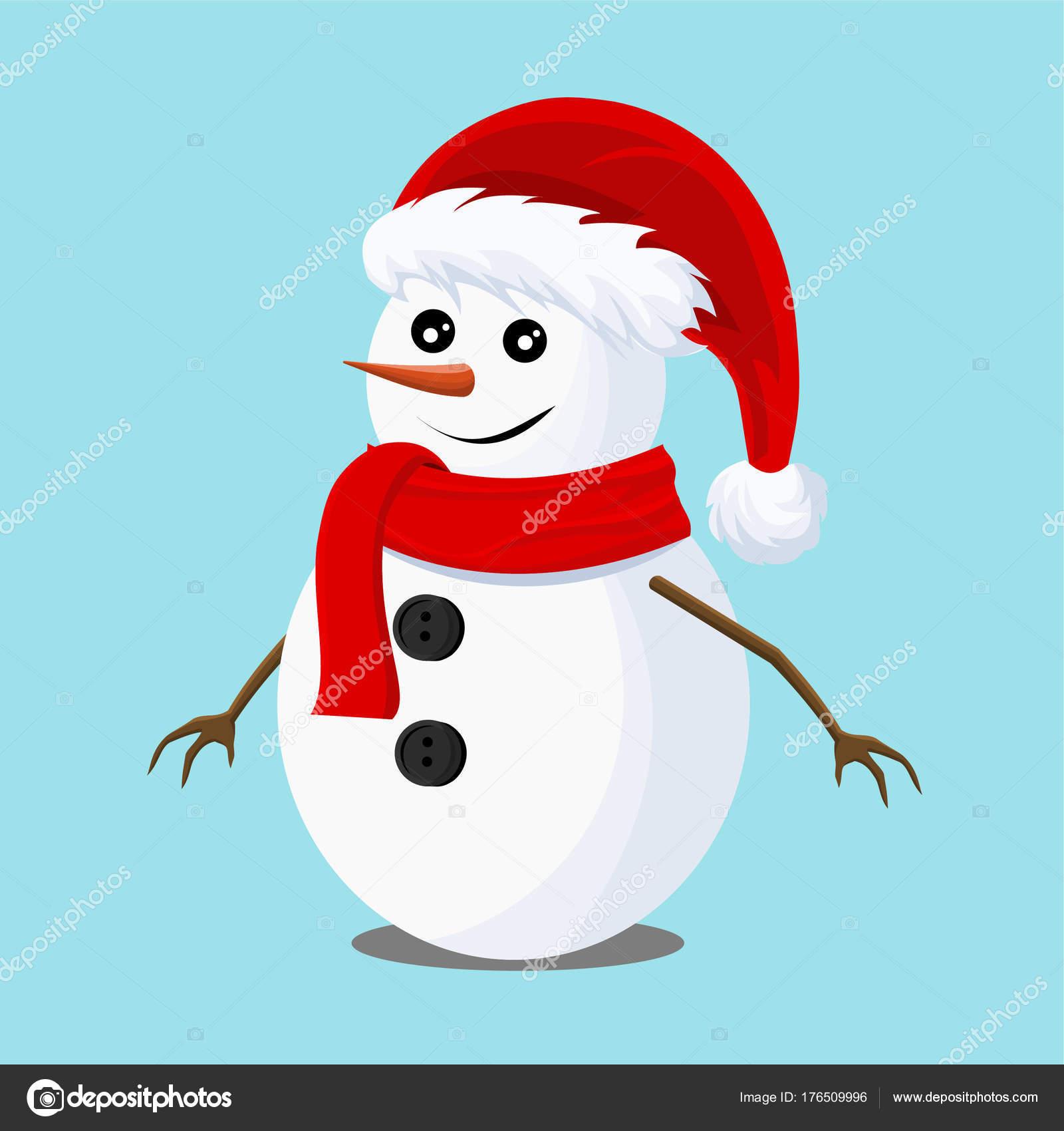 Cartolina di Natale con un pupazzo di neve con cappello di Babbo Natale.  Cartolina di Natale faf72b213529