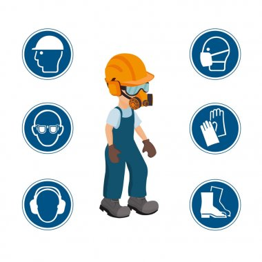 Worker with his personal protective equipment and security icons. vector ilustration. stock vector