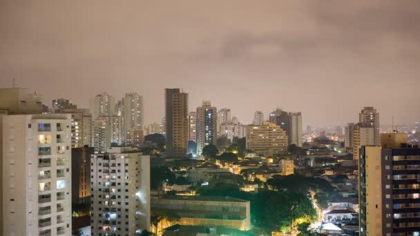Sao Paulo Skyline Nacht Zeitraffer mit Skyscrapper Gebäude