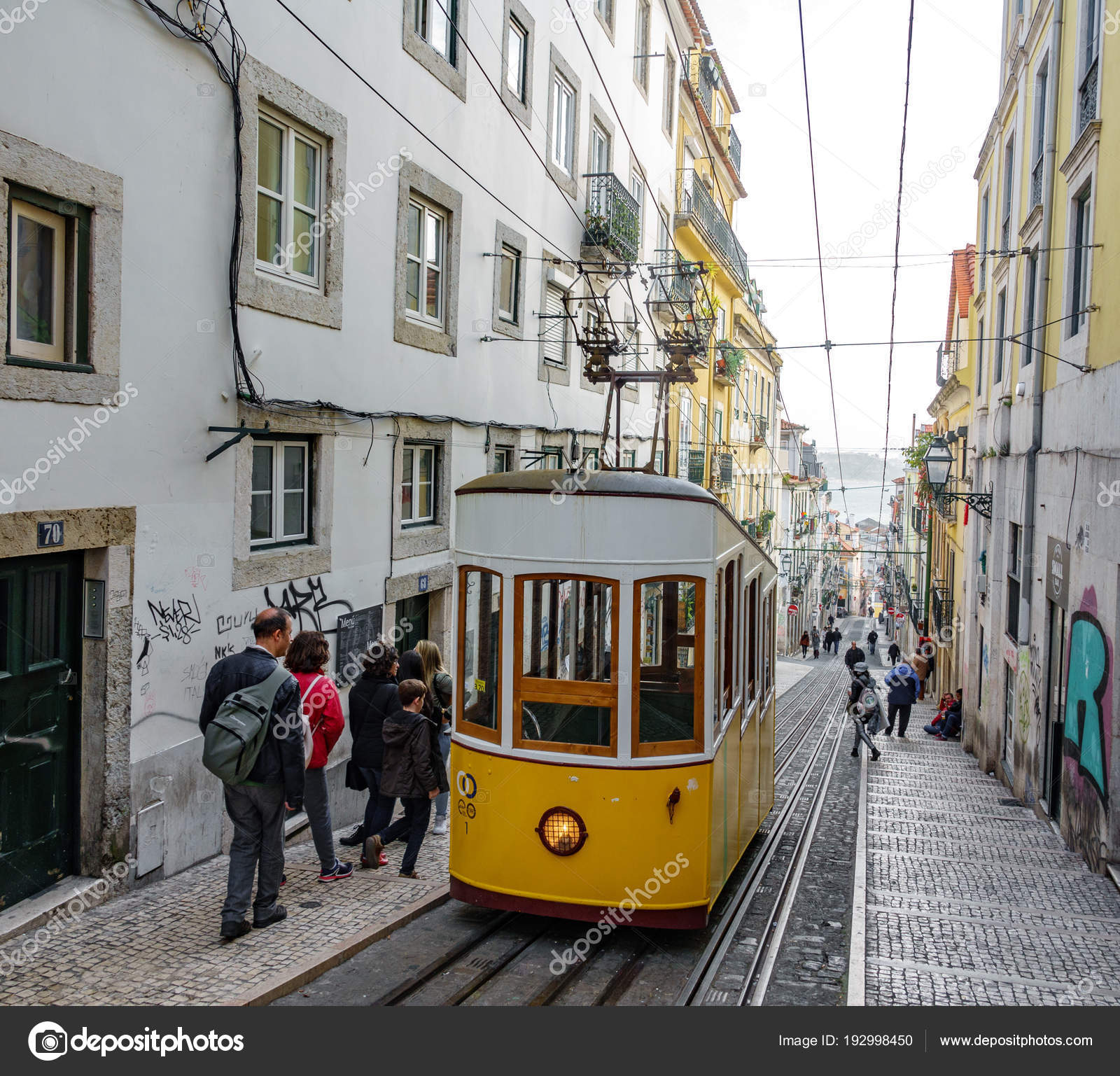 Lisbon April 3 Top View Of Bica Elevator In A Narrow Street Of
