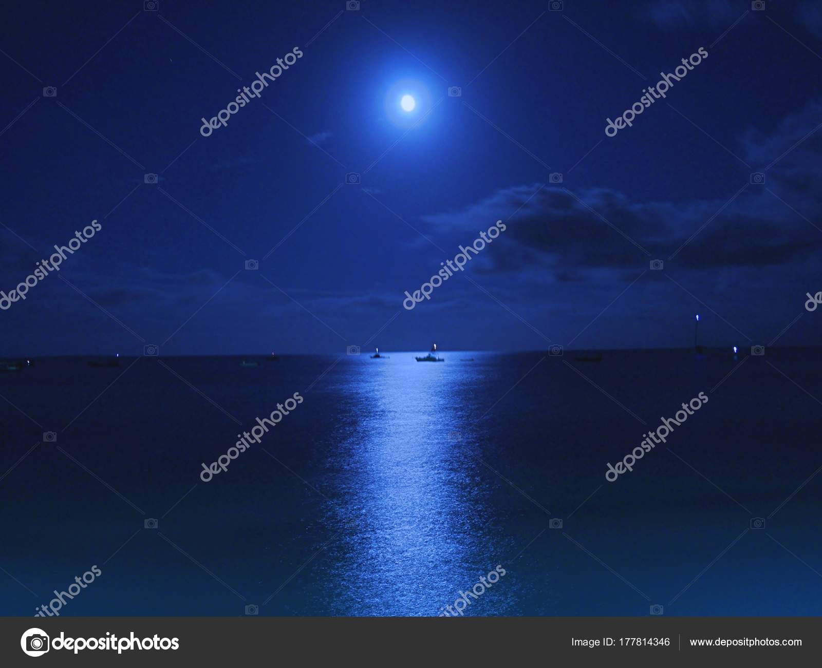 Night Sky Moon Landscape Beautiful Nature Black Sea Stock Photo
