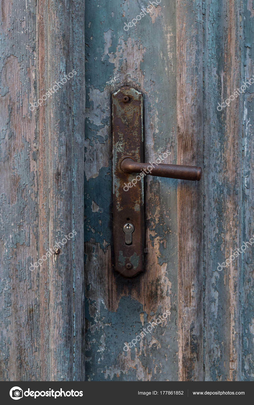 Groovy Stary Uchwyt Vintage Drzwi Metalowe Stare Niebieskie Drzwi VW71