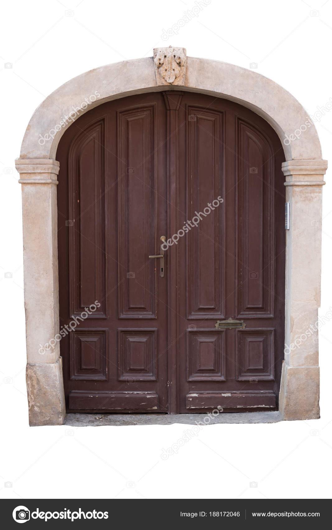 Puertas Madera Antigua Con Marco Piedra Aislado Sobre Fondo Blanco ...