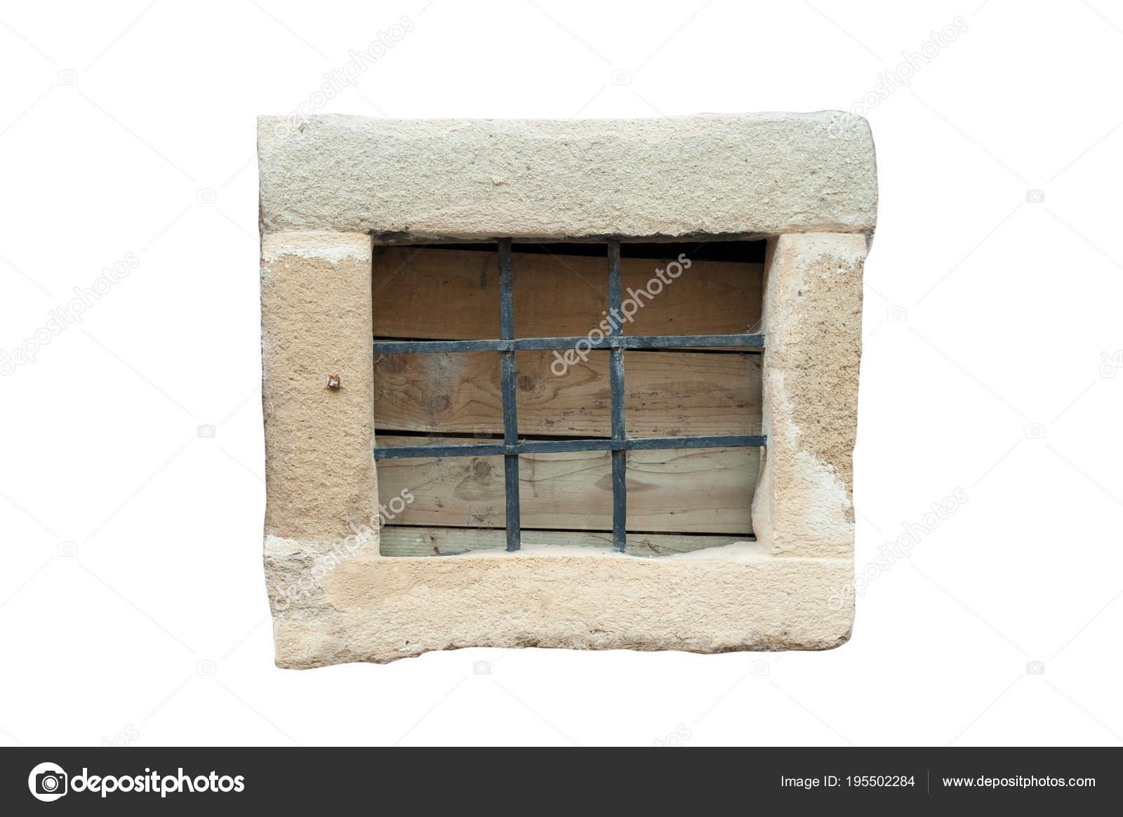 Kleiner Stein Rahmenfenster Mit Schwarzen Metall Stangen Isoliert ...