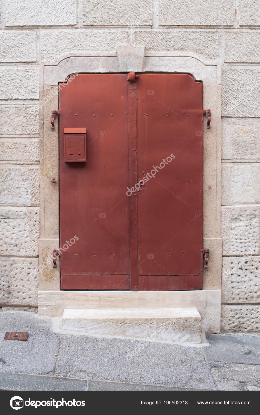 Old Metal Red Doors Stone Wall House Red Metal Doors Stock Photo