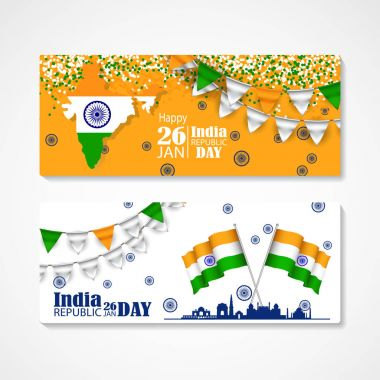 illustration of set banner and header for colorful India