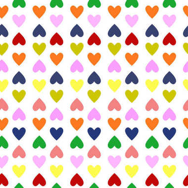 retro seamless pattern with colorful hearts