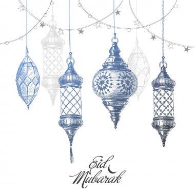 Illustration of Eid mubarak. Beautiful islamic and arabic lantern