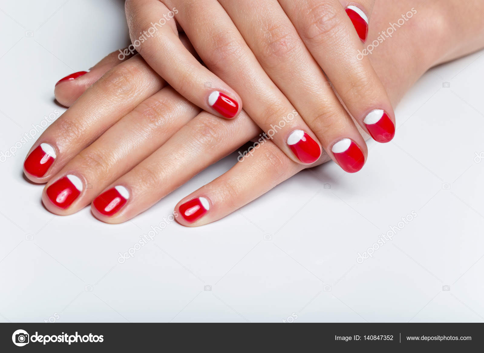 Female hands with red and white nails — Stock Photo © Svetography ...